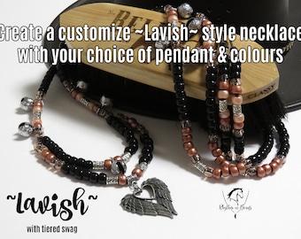 CUSTOM,  Pick your Colours & Pendant , LAVISH, Rhythm Beads Necklace, Trail Bells, Bear Bells,beaded horse tack,Parade Tack, Rhythm Beads