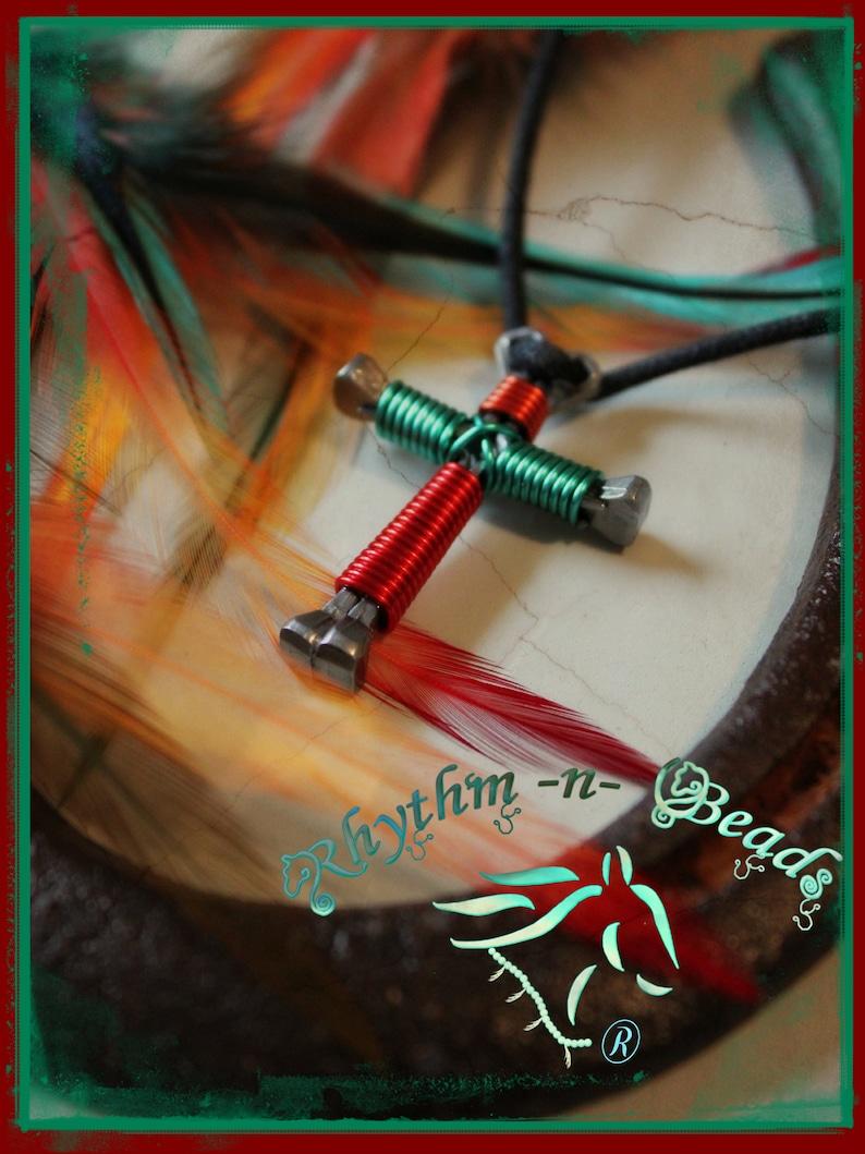 Horseshoe Nail Cross Necklace horse lover gift  Horse image 0