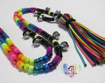 Rhythm Beads, NEON RAINBOW, Bear Bells, Horse tack, Trail bells for horses, Horse necklace with bells, Trail Beads for Horses,