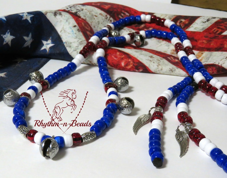 Rhythm Beads Necklace PATRIOT Trail Beads for HorsesHorse image 0