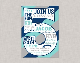 Boy 5th Birthday Invitation5th Invitation BoyBoy InvitationFifth Fifth Invite