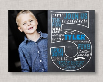Fifth Birthday Invitation, 5th Birthday Invitation, Boy Birthday Invitation, Photo Invitation, 5th, Number 5, Fifth Birthday