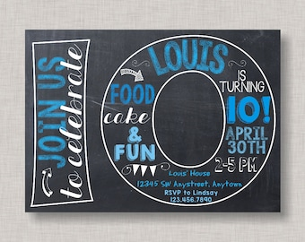 Tenth Birthday Invitation 10th Boy Number 10 Chalkboard