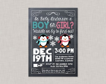 gender reveal invitation penguin gender reveal party christmas gender reveal gender reveal party winter gender reveal christmas winter