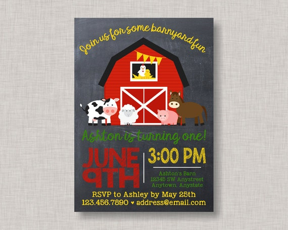Farm Invitation Birthday Barnyard Party Bash Chalkboard 1st 2nd