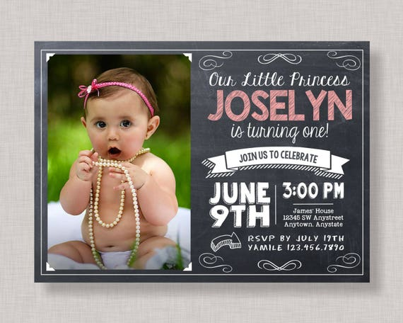 First Birthday Invitation Girl Chalkboard