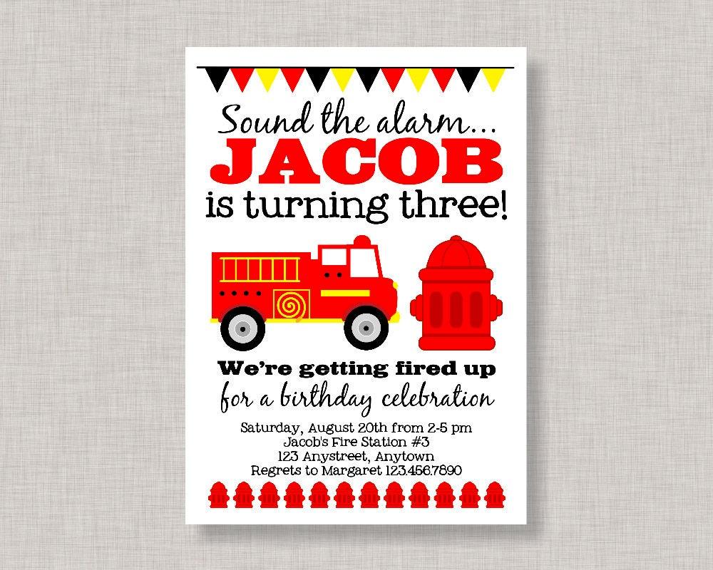 Firetruck Invitation Firetruck Birthday Invitation Firetruck   Etsy