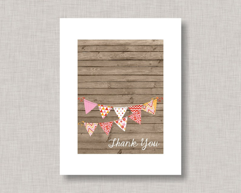 Bridal Shower Thank You Card Bunting Banner Girl BBQ Thank You Card Baby Shower Thank You Cards Thank You Card Baby Q Thank You Card