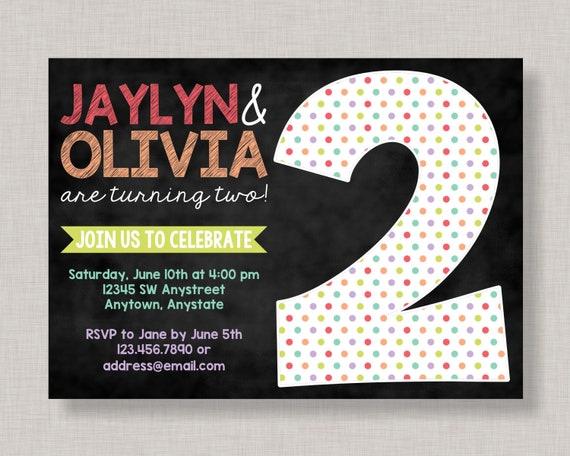 twin 2nd birthday invitations twin second birthday invitation twin