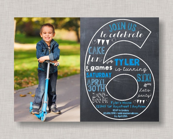 sixth birthday invitation 6th birthday invitation boy birthday