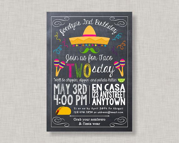 fiesta invitation fiesta birthday invitation taco tuesday