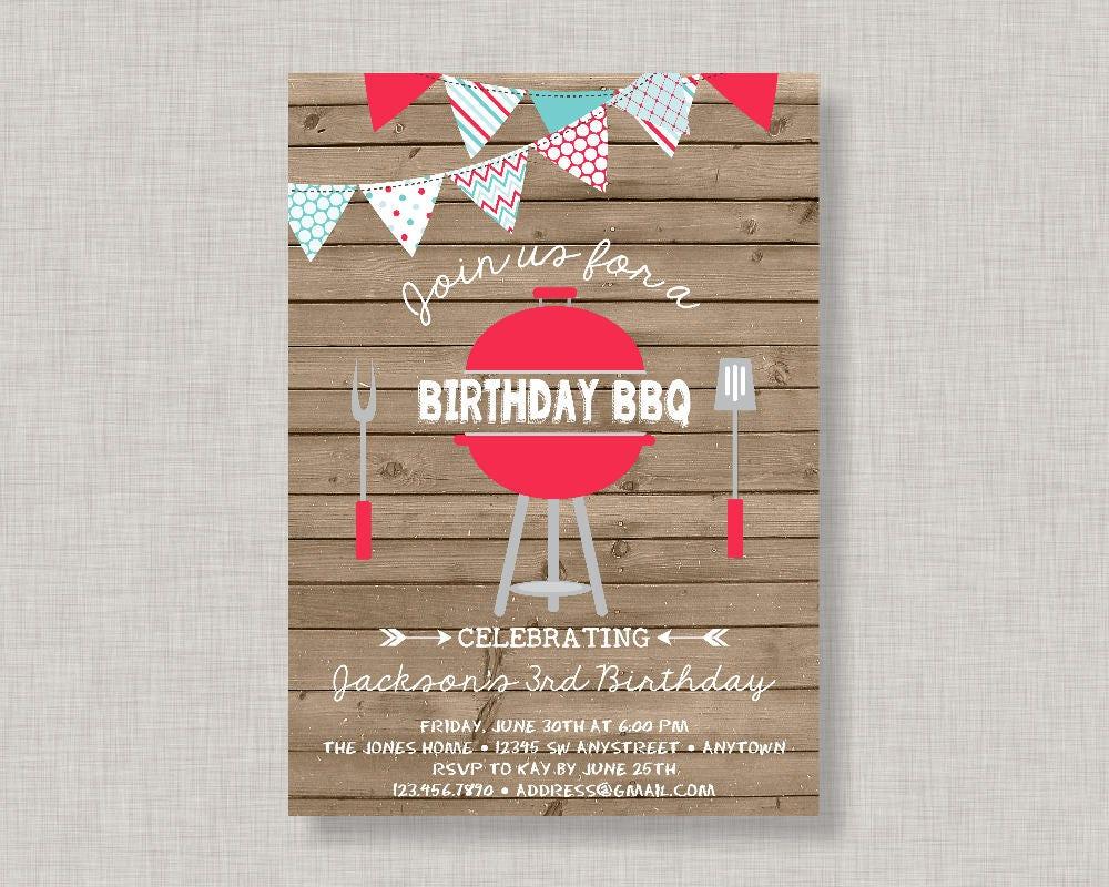 Backyard Bbq Wedding Invitations: Birthday BBQ Invitation Backyard BBQ Invitation BBQ