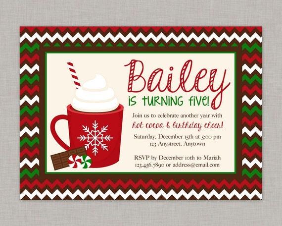 Hot Cocoa Invitation Christmas Birthday Party Invitation By The
