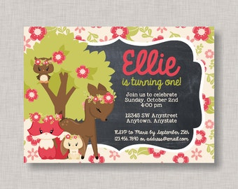 Woodland Invitation, Woodland Birthday Invitation, Woodland Birthday Party, Girl Woodland Birthday, Forest Birthday, Friends of the Forest