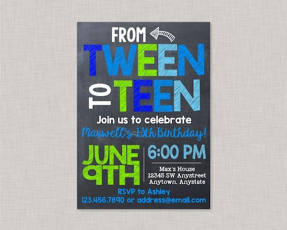 13th Birthday Invitations13th Invitations BoyTween