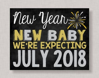 New Years Pregnancy Announcement Sign, New Years Pregnancy Announcement Poster, Pregnancy Announcement Chalkboard,New Years Pregnancy Reveal
