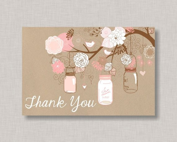 Thank You Card Printable Mason Jar Thank You Card Baby Shower Thank You Card Bridal Shower Thank You Card Diy Thank You Card Printable By The Paper Blossom Shop Catch My