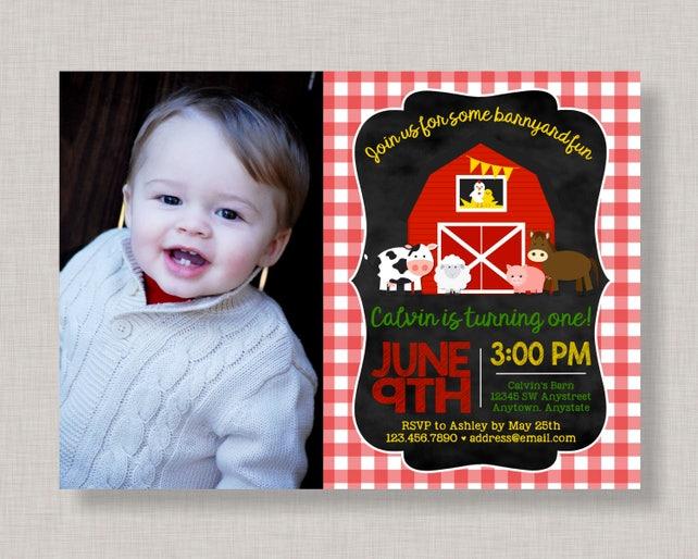 Farm Invitation Birthday Barnyard Party Bash