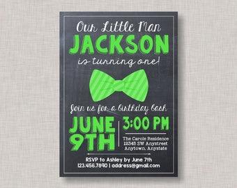 Little Man Birthday Invitation, Bow Tie Birthday Invitation, Little Man Birthday, Bow Tie Birthday, Bowtie Invitation, Chalkboard, Lime