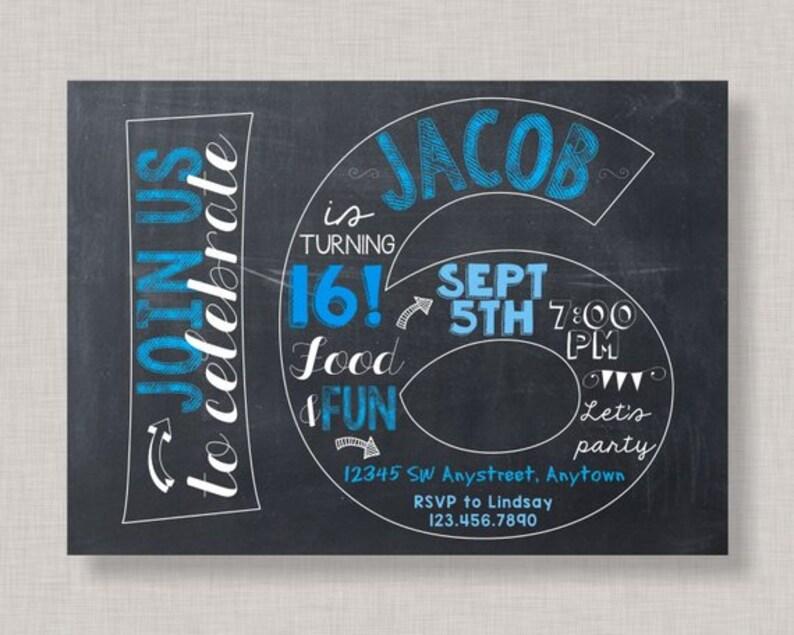 16th Birthday Invitation For Boys