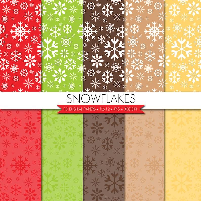 Snowflake Digital Paper,Christmas Digital Paper,Christmas Digital Scrapbook Paper,Red Green Digital Paper,Winter Paper BUY 2 GET 1 FREE