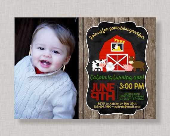 Farm Birthday Invitation Barnyard Party Bash Chalkboard 1st 2nd