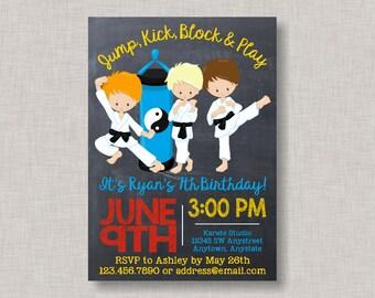 Karate Invitation, Karate Birthday Invitation, Martial Arts Invitation, Martial Arts Birthday, Chalkboard, Karate, Tae Kwon Do, Boy Birthday