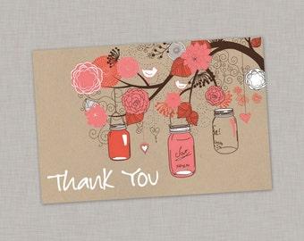 Thank You Card, Mason Jar Thank You Card, Baby Shower, Bridal Shower