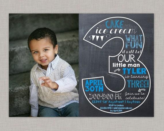 Third Birthday Invitation 3rd Boy