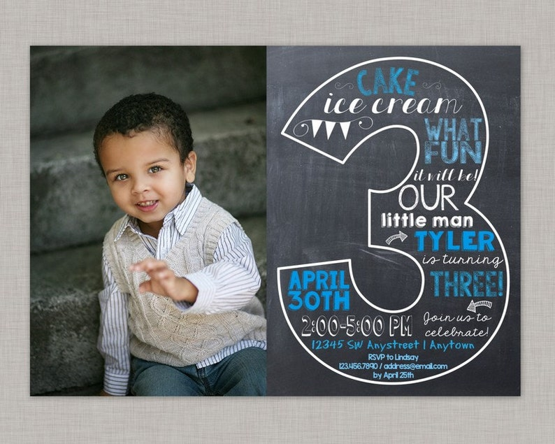 Third Birthday Invitation 3rd Boy
