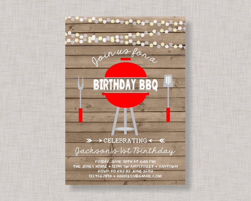 Birthday BBQ Invitation Backyard BBQ Invitation BBQ