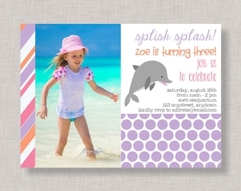 Dolphin Invitation, Dolphin Birthday Invitation for girls, Dolphin Party