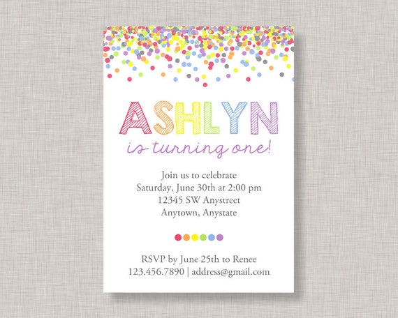 confetti birthday invitation rainbow invitation rainbow birthday