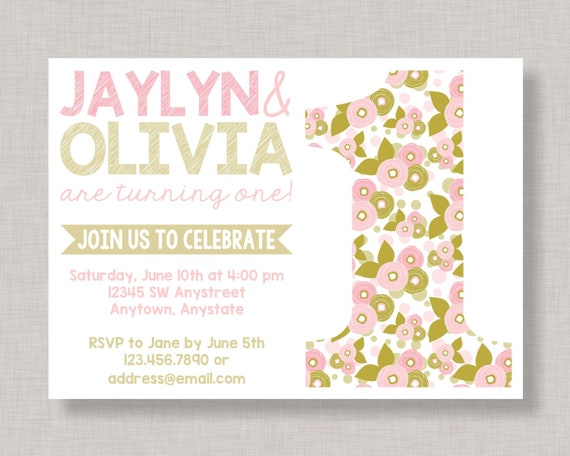 twin 1st birthday invitations twin first birthday invitation twin