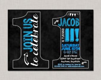 11th Birthday Invitation, Eleventh Birthday Invitation, Boy Birthday Invitation, 11th, Number 11, Eleventh Birthday, Boy 11th, Chalkboard
