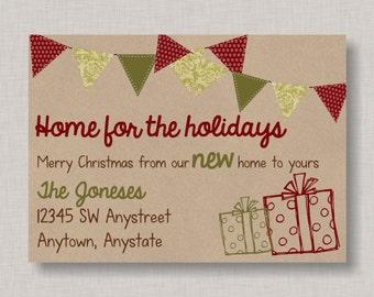Christmas New Address Card, Christmas New Home Announcement, Christmas New Home Card, New Home Christmas Card, Moving Christmas Card