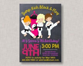 Karate Invitation, Karate Birthday Invitation, Girl Karate Invitation, Martial Arts Invitation, Martial Arts Birthday, Karate, Tae Kwon Do