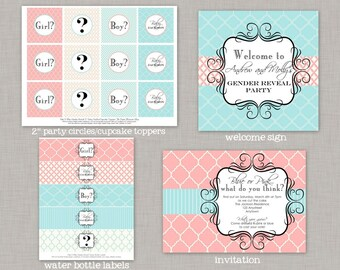 Gender Reveal Party, Gender Reveal Party Decorations, Printable Gender Reveal Decorations,Gender Reveal,Printable Gender Reveal,Pink or Blue