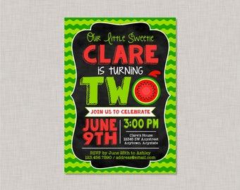 Watermelon Invitation, Watermelon Party, Watermelon Birthday, Watermelon Second Birthday Invitation, 2nd Birthday Invitation, Little Sweetie