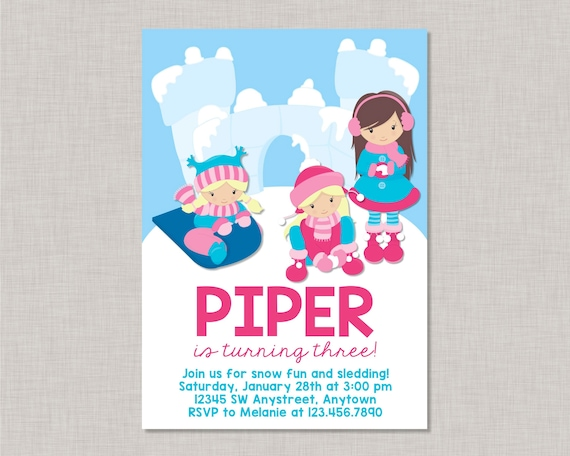 Snow Birthday Invitation Sledding Birthday Invitation Sledding Party