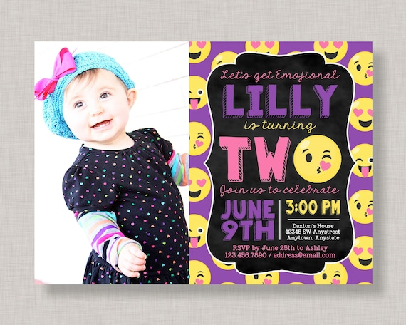 Emoji 2nd birthday invitations emoji second birthday invitations il570xn filmwisefo