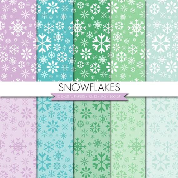 Snowflake digital paper blue Christmas digital paper Winter digital paper Holiday digital paper Bokeh digital paper digital Christmas paper