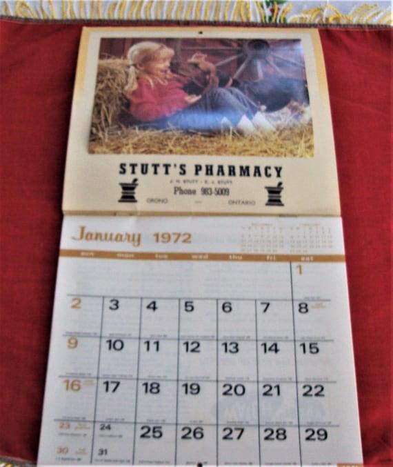 1972 Calendar Stutt S Pharmacy Orono Ontario Vintage Etsy