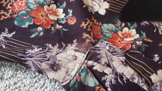 Antique Victorian 1880 Floral Calico Velvet Bow W… - image 8