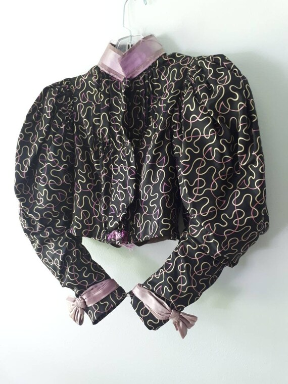Antique Victorian Silk Blouse Boned Bodice Leg Mu… - image 2