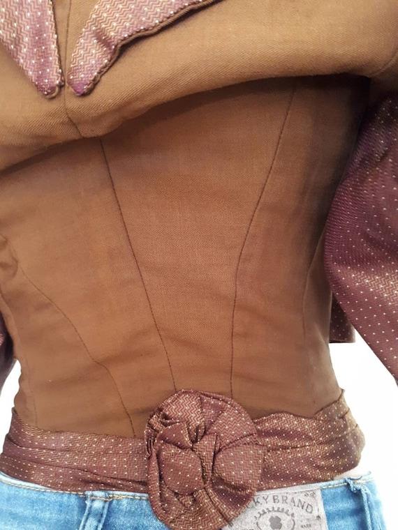 Antique Victorian 1890's Huge Mutton Sleeve Silk … - image 6
