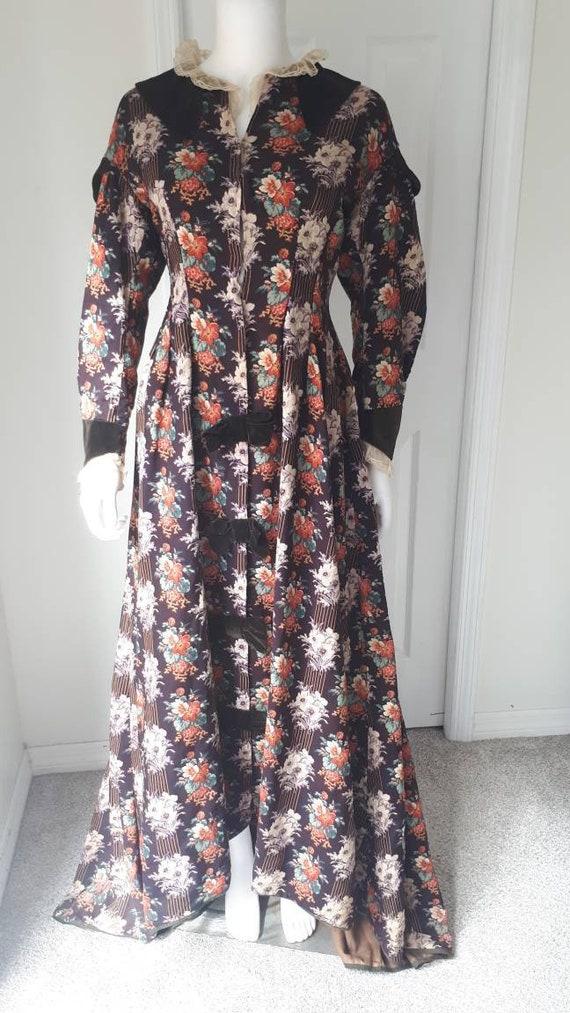 Antique Victorian 1880 Floral Calico Velvet Bow W… - image 3
