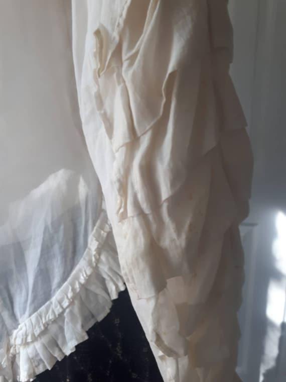 Rare Antique Victorian Prairie Ruffle Sleeve Whit… - image 7