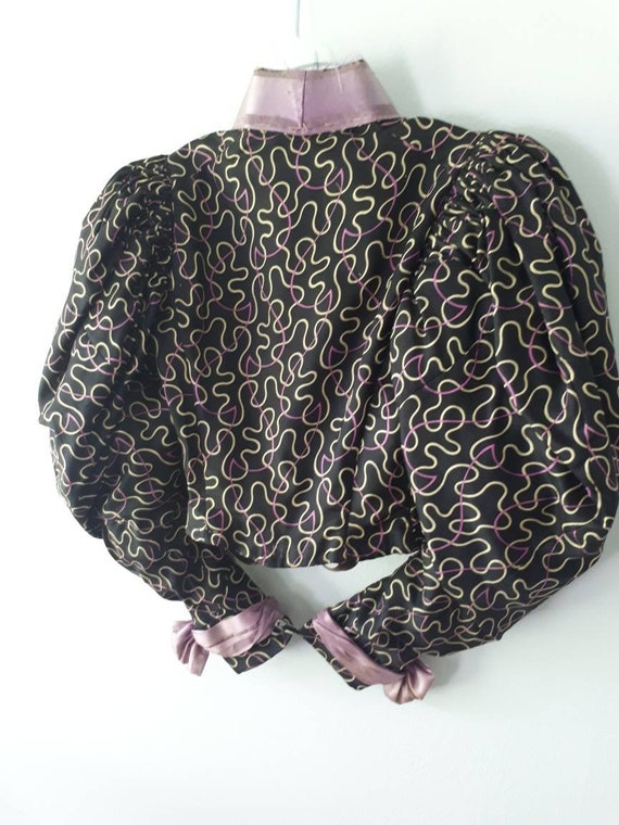 Antique Victorian Silk Blouse Boned Bodice Leg Mu… - image 3