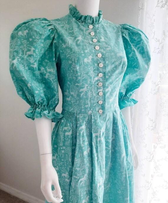 Vintage Prairie Forest Folk Print Dress Puff Sleev